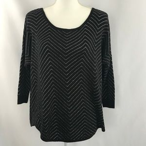 C - black And Silver Long Sleeve Knit Sweater